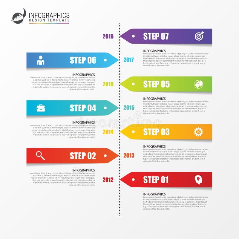 Шаблон дизайна временной последовательности по Infographic с бумажными бирками иллюстрация вектора