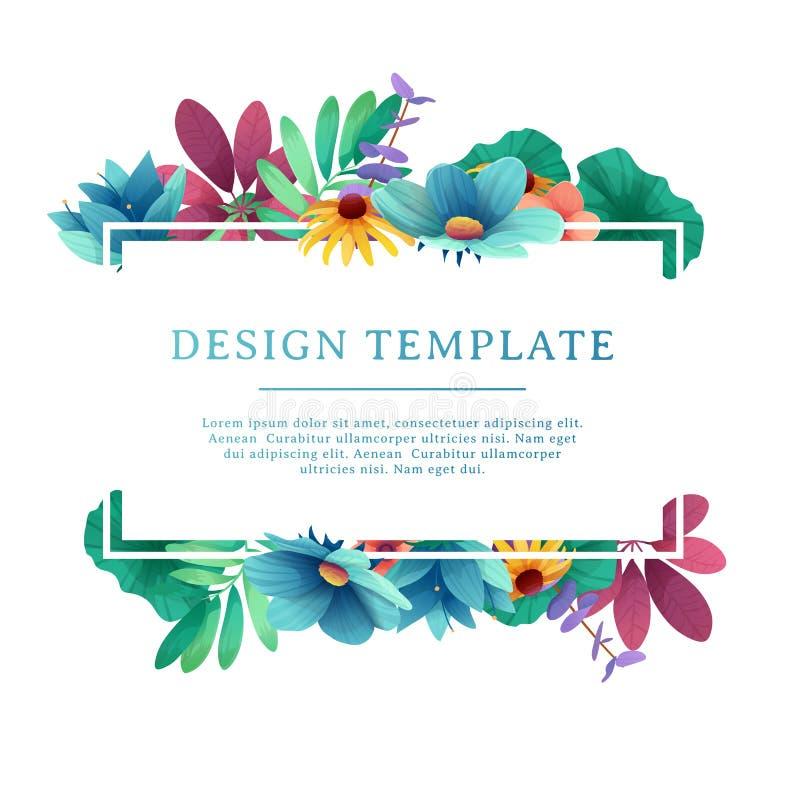 Шаблон дизайна знамени с флористическим украшением Прямоугольная рамка с оформлением цветков, листьев, хворостин индивидуально бесплатная иллюстрация