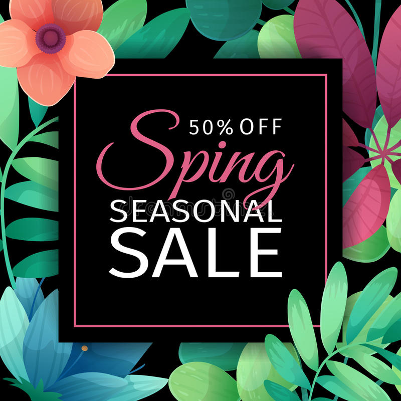 Шаблон дизайна знамени для сезонной продажи Квадратный плакат с скидками для продажи весны Флористическое украшение на a иллюстрация штока