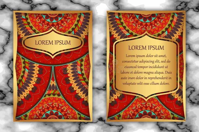Шаблон дизайна карточки приглашения Винтажные декоративные элементы с мандалой, чувствительным цветочным узором бесплатная иллюстрация