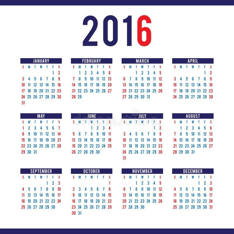 Шаблон дизайна календаря 2016 в векторе иллюстрация штока