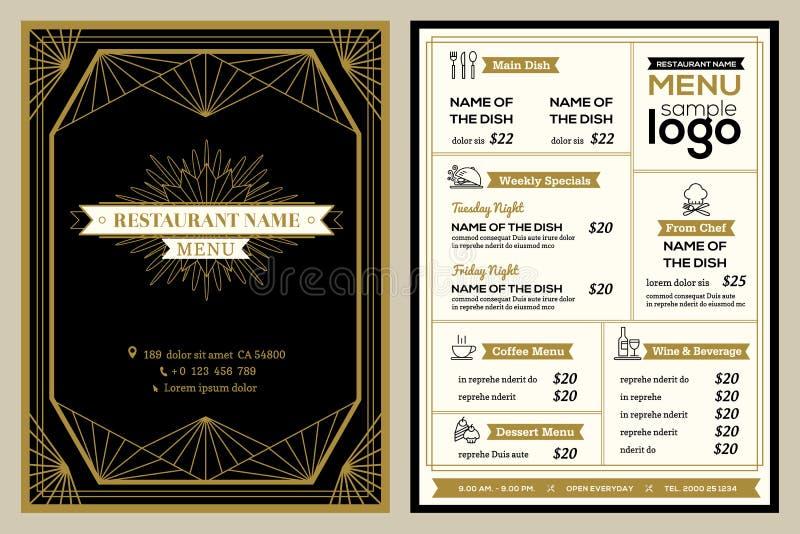 Шаблон дизайна крышки меню ресторана или кафа с винтажной ретро рамкой иллюстрация штока