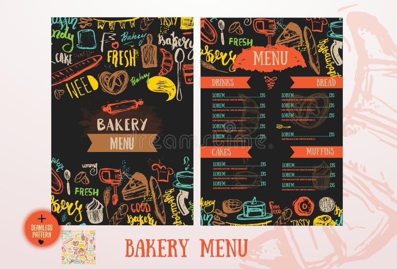 Шаблон дизайна меню кафа хлебопекарни бесплатная иллюстрация