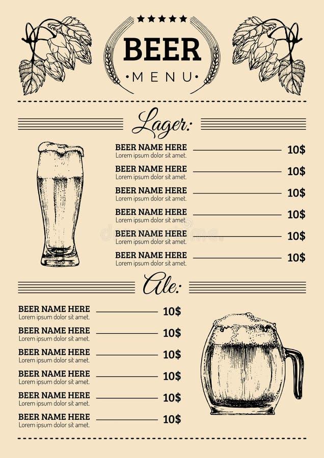 Шаблон дизайна меню пива Vector паб, карточка ресторана с лагером сделанным эскиз к рукой, иллюстрациями эля Значки элементов вин иллюстрация вектора