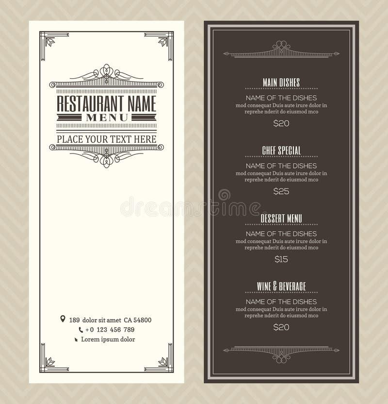 Шаблон дизайна меню ресторана или кафа с винтажной ретро рамкой стиля Арт Деко иллюстрация штока