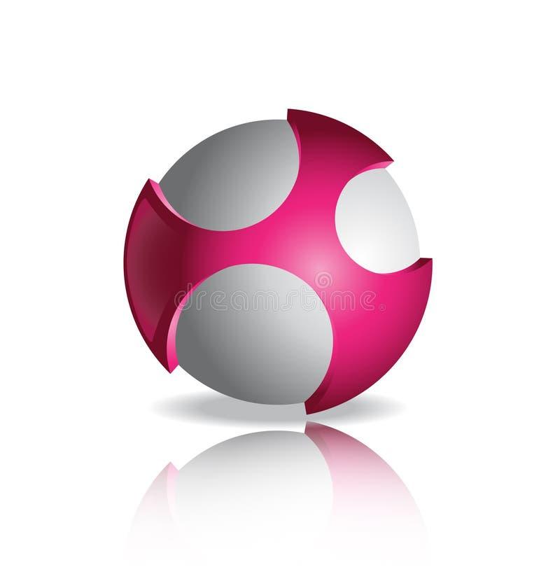 Шаблон дизайна логотипа вектора Абстрактный розовый и серый глобус стоковое изображение