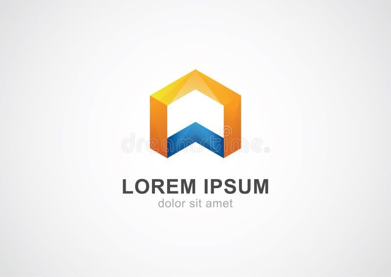 Шаблон дизайна логотипа вектора стиля шестиугольника корпоративный Lo безграничности иллюстрация вектора