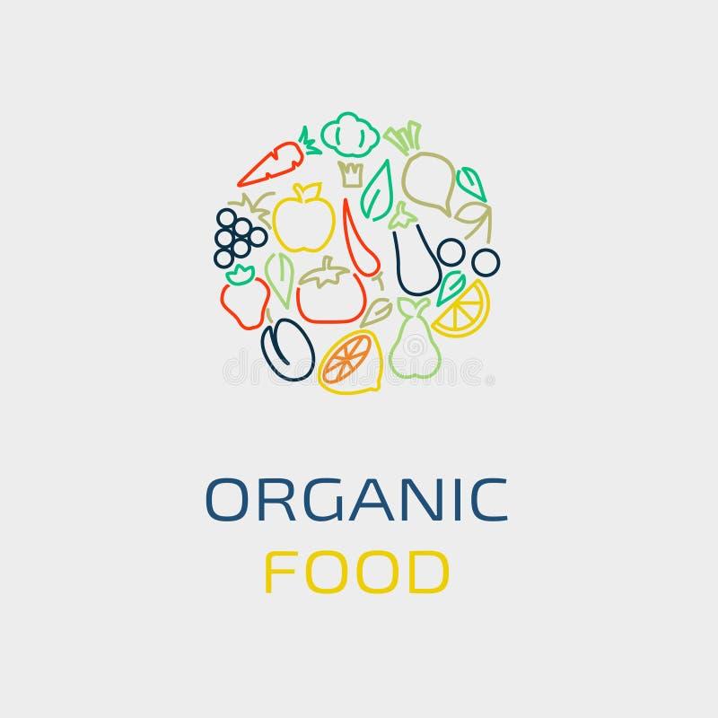 Шаблон дизайна логотипа вектора с значками фрукта и овоща в ультрамодном линейном стиле иллюстрация штока
