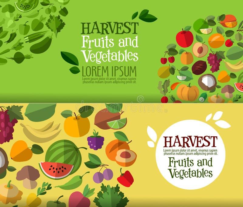 Шаблон дизайна логотипа вектора фруктов и овощей бесплатная иллюстрация