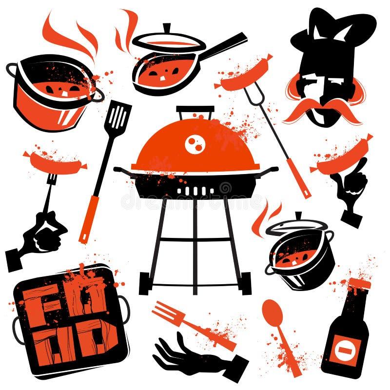 Шаблон дизайна логотипа вектора BBQ варить или бесплатная иллюстрация