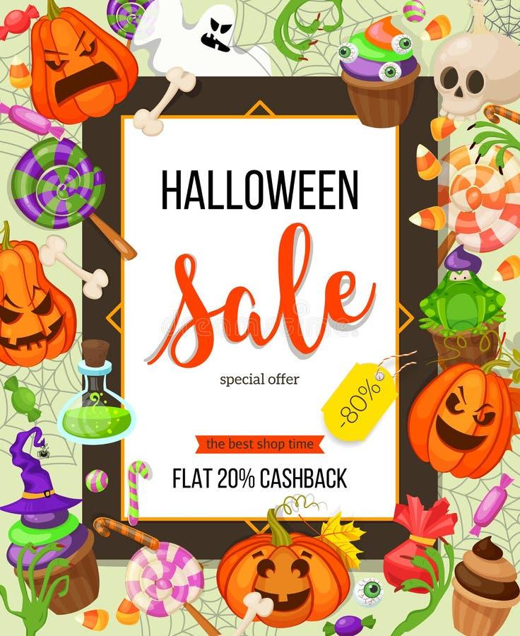 Шаблон дизайна предложения продажи хеллоуина Vector предпосылка с тыквой, призраком, конфетой в плоском стиле Ретро стиль шаржа иллюстрация штока
