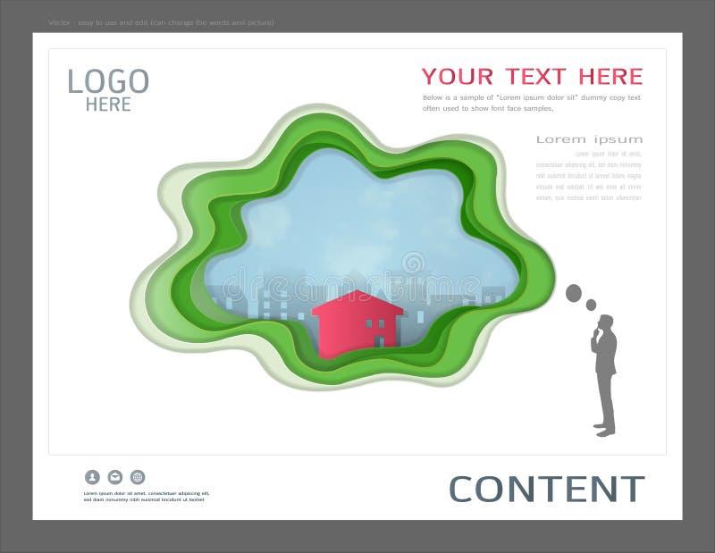 Шаблон дизайна представления, здания города и концепция недвижимости, Vector современная предпосылка иллюстрация вектора