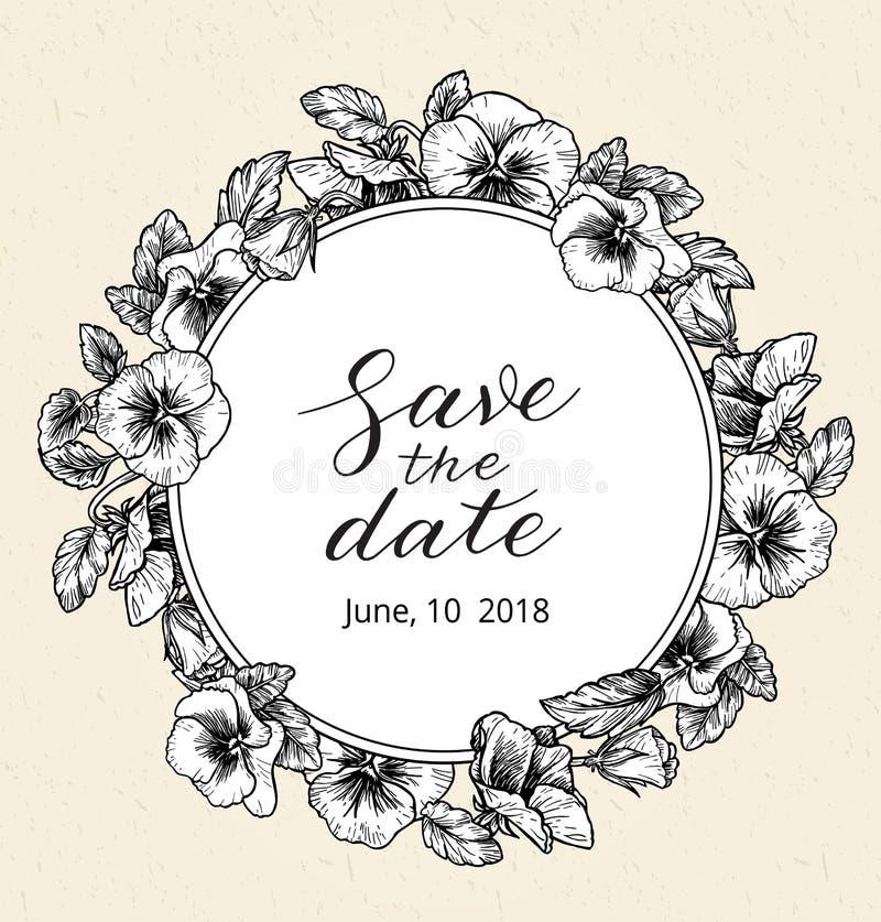 Шаблон дизайна приглашения свадьбы с спасением текст даты и рамка винтажных ботанических цветков бесплатная иллюстрация