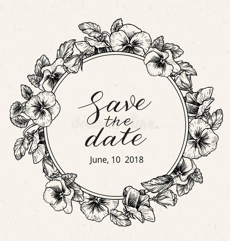 Шаблон дизайна приглашения свадьбы с спасением текст даты и рамка винтажных ботанических цветков иллюстрация вектора