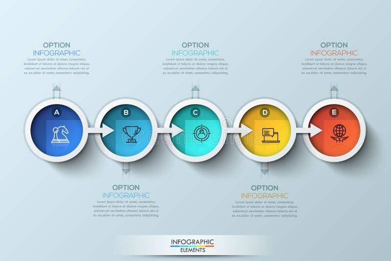 Шаблон дизайна плоской временной последовательности по соединения infographic с значками цвета стоковое изображение