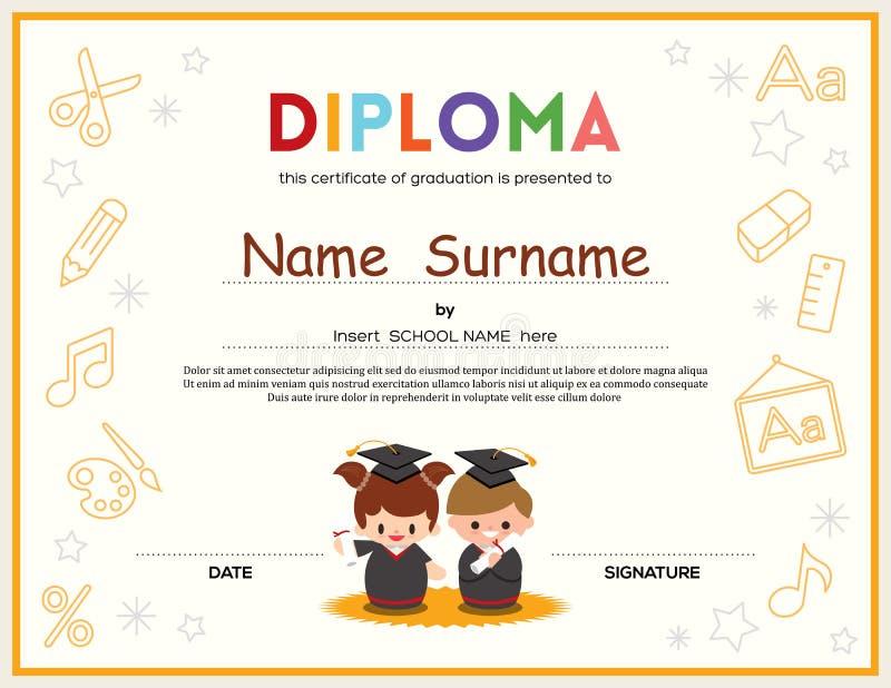 Шаблон дизайна сертификата диплома детей Preschool иллюстрация штока