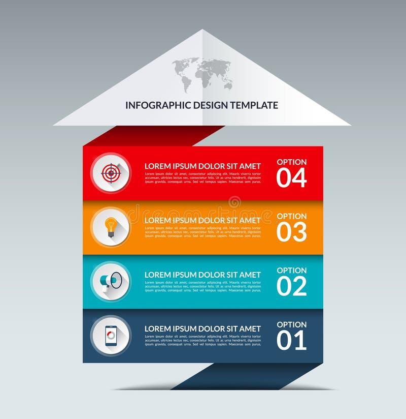 Шаблон дизайна стрелки Infographic Концепция роста дела с 4 вариантами бесплатная иллюстрация