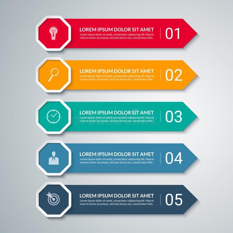 Шаблон дизайна стрелки Infographic с 5 вариантами бесплатная иллюстрация