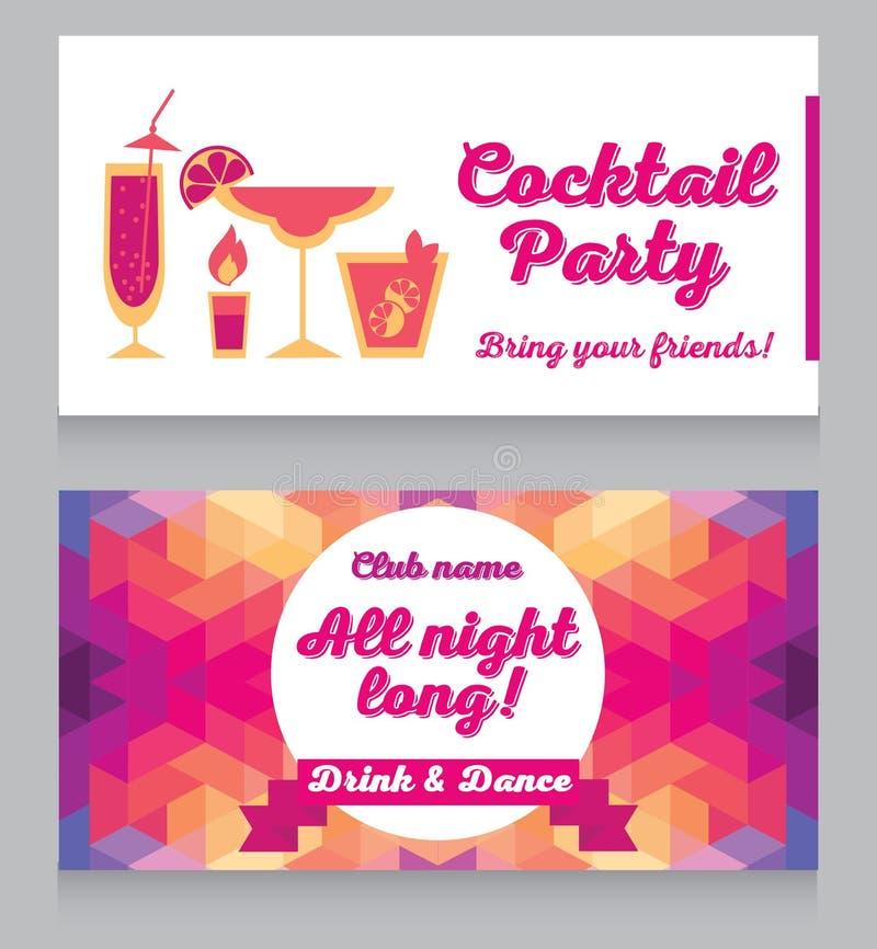 Шаблон дизайна для партии коктеиля очарования иллюстрация вектора
