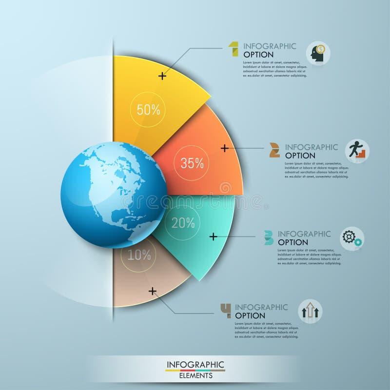 Шаблон дизайна Infographic 4 секторальных элемента при индикация процента помещенная вокруг глобуса и соединенная с иллюстрация вектора