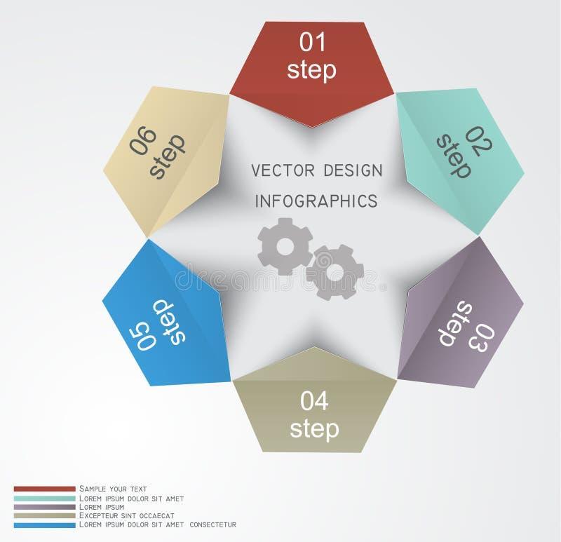 Шаблон дизайна Infographic с бумажными бирками иллюстрация вектора