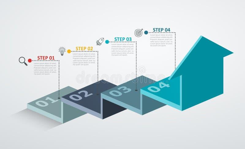 Шаблон дизайна Infographic с структурой вверх по стрелке, концепцией шага дела с 4 вариантами соединяет бесплатная иллюстрация