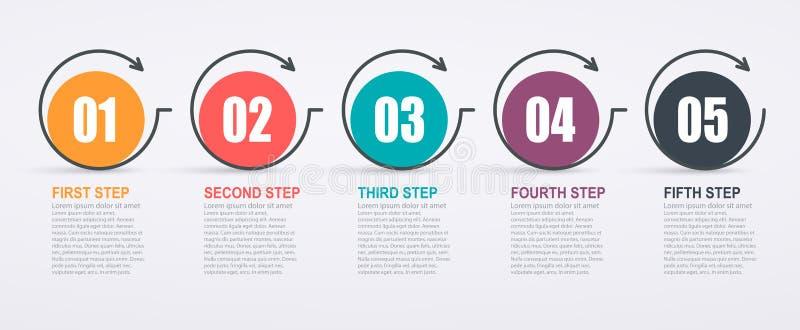 Шаблон дизайна Infographic с структурой и стрелками 5 шагов иллюстрация вектора