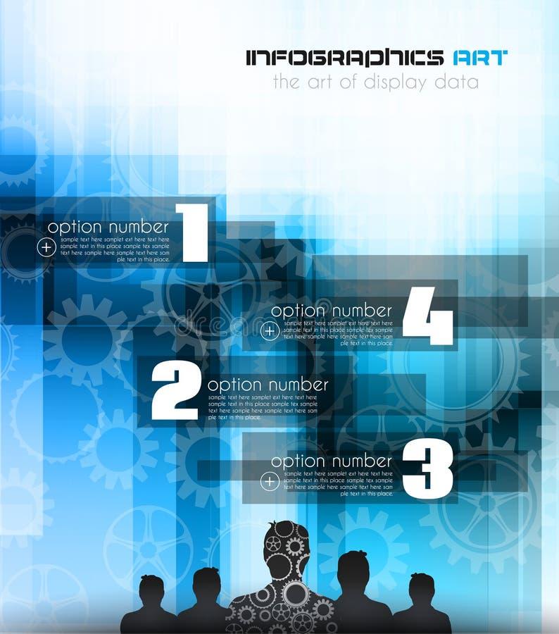 Шаблон дизайна Infographic с человеком и шестернями бесплатная иллюстрация