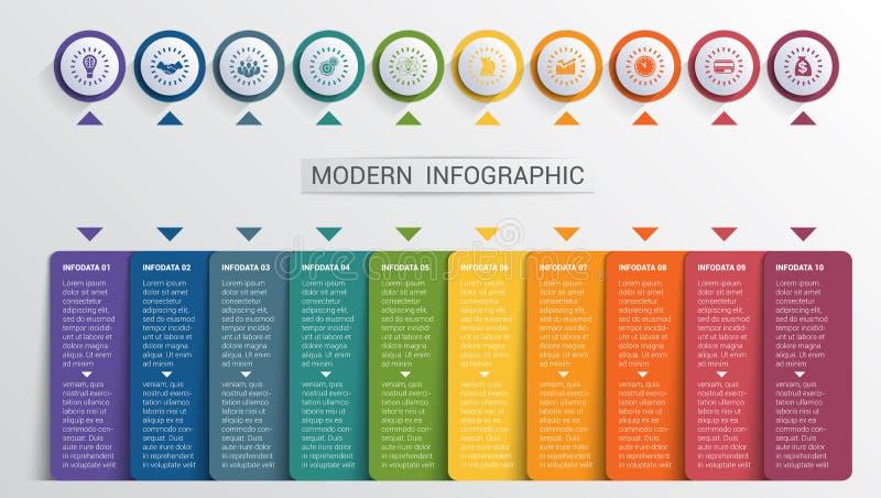 Шаблон дизайна Infographics, кнопки цвета и 10 форм плит иллюстрация вектора