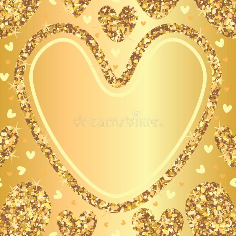 Шаблон картины золотой влюбленности яркого блеска безшовный иллюстрация штока