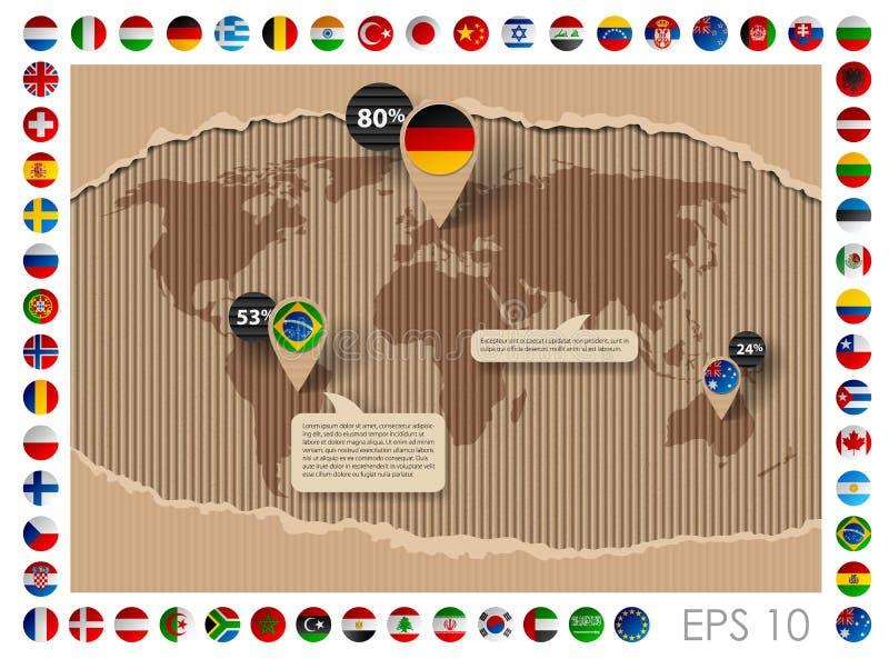 Шаблон картона с картой и флагами мира иллюстрация вектора