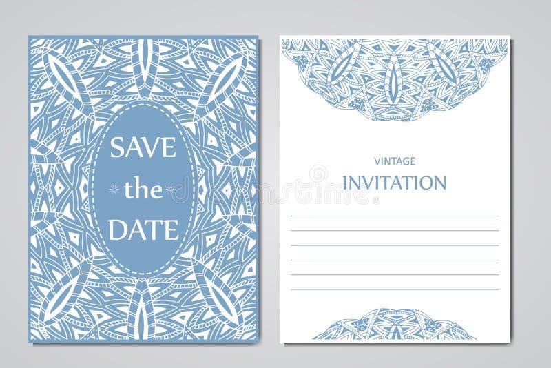 Шаблон карточек свадьбы Круглый восточный орнамент шнурка с мандалой Декоративный дизайн приветствию для спасибо карточки, сохран бесплатная иллюстрация