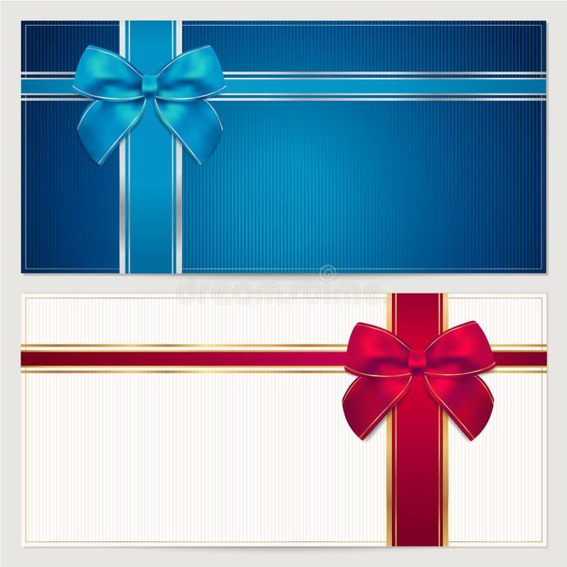 Ваучер подарка/шаблон талона. Смычок (тесемки) иллюстрация штока