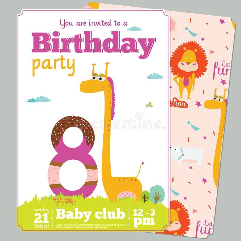 Шаблон карточки приглашения вечеринки по случаю дня рождения с милым иллюстрация штока