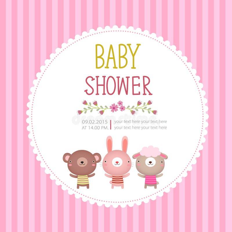 Шаблон карточки приглашения детского душа на розовой предпосылке бесплатная иллюстрация
