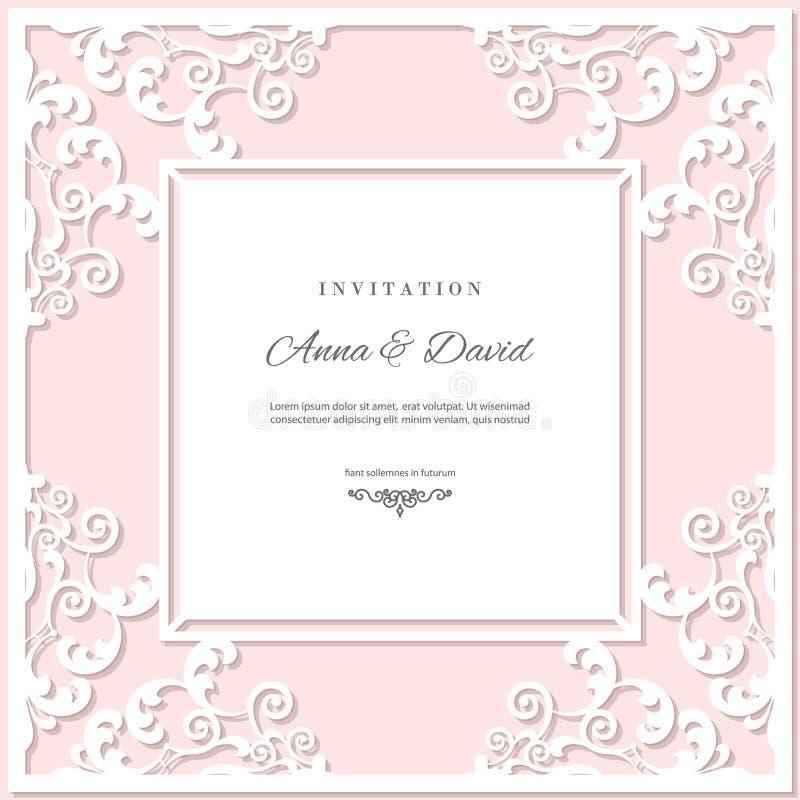 Шаблон карточки приглашения свадьбы с рамкой вырезывания лазера Цвета пастельного пинка и белизны иллюстрация вектора