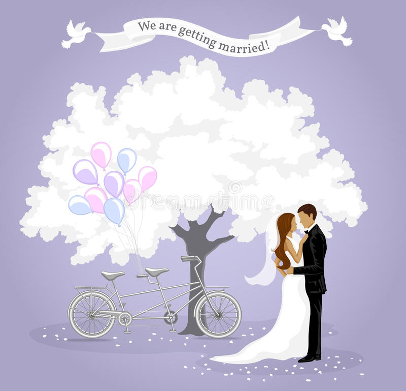 Шаблон карточки приглашения свадьбы бесплатная иллюстрация