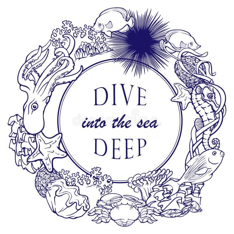 Шаблон карточки рамки плана кораллового рифа иллюстрация штока