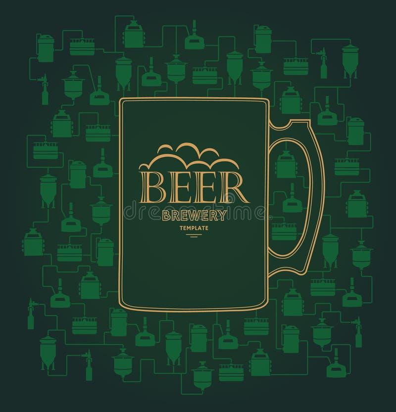 Шаблон карточки с элементом винзавода пива вектор иллюстрация штока