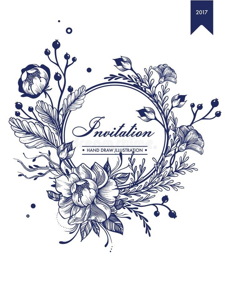 Шаблон карточки Monochrome приглашения флористический бесплатная иллюстрация