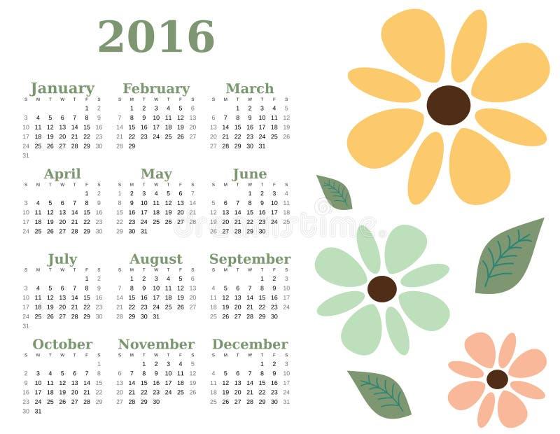 шаблон календаря 2016 год флористический Неделя начинает воскресенье иллюстрация штока