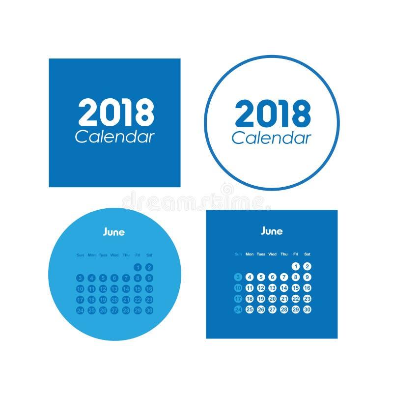 Шаблон календаря на июнь 2018 иллюстрация вектора