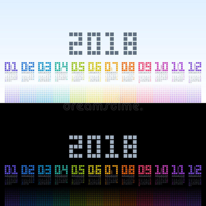 Шаблон 2018 календаря с текстом радуги цифровым желтый цвет обоев вектора уравновешивания rac померанцовой картины цветков eps10  иллюстрация штока