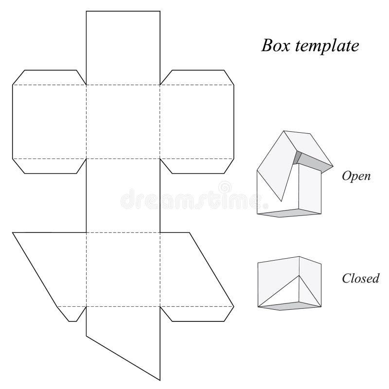Шаблон квадратной коробки с крышкой иллюстрация штока