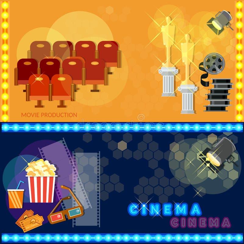 Шаблон киноафиши фестиваля кино снабжает попкорн билетами иллюстрация вектора