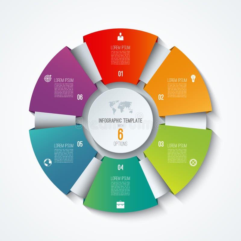 Шаблон круга infographic Отростчатое колесо Долевая диограмма вектора Концепция дела с 6 вариантами иллюстрация вектора