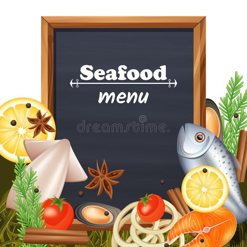 Шаблон меню морепродуктов бесплатная иллюстрация