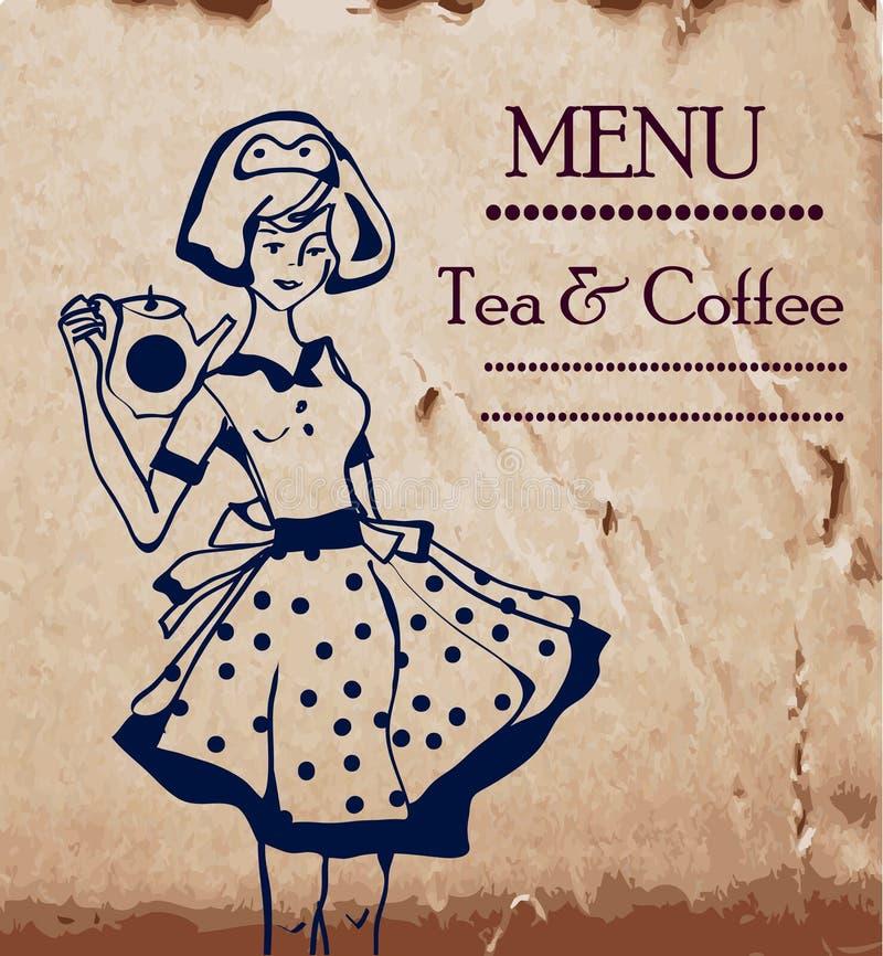 Шаблон меню с ретро официантками и кофе или чаем бесплатная иллюстрация