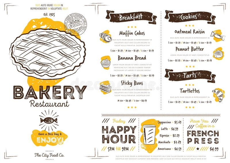 Шаблон меню хлебопекарни кафа ресторана иллюстрация вектора