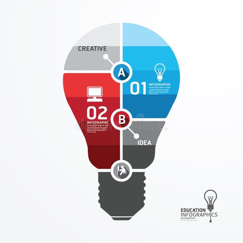 Шаблон минимального стиля современного дизайна infographic с электрической лампочкой иллюстрация штока